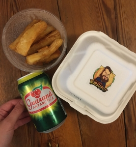 Fernando's burger in a box, cassava fries and can of Guarana Antartica drink